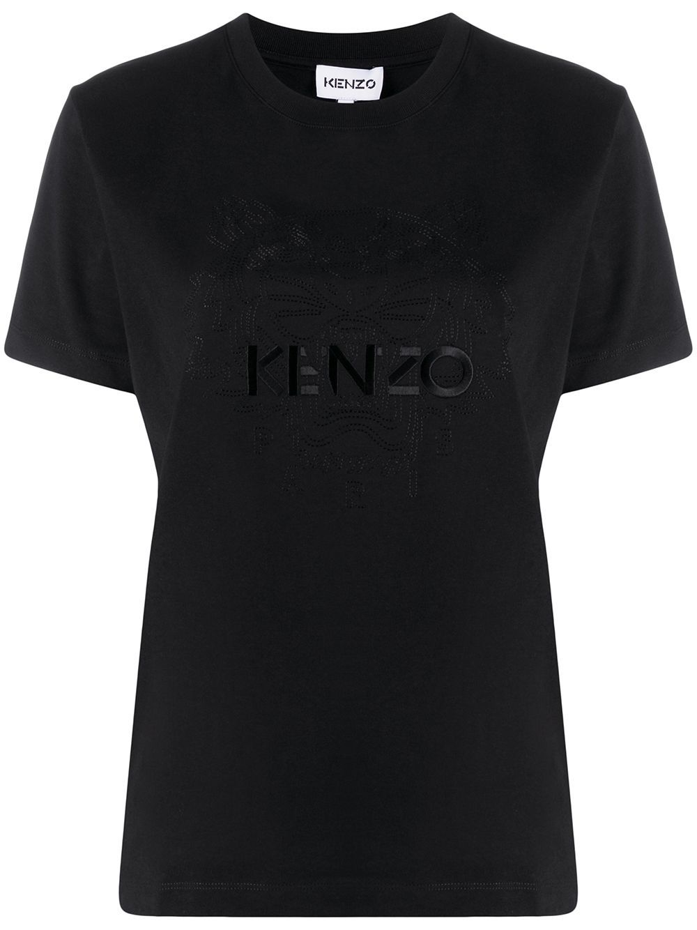 KENZO WOMEN Logo Embroidered T-Shirt Black