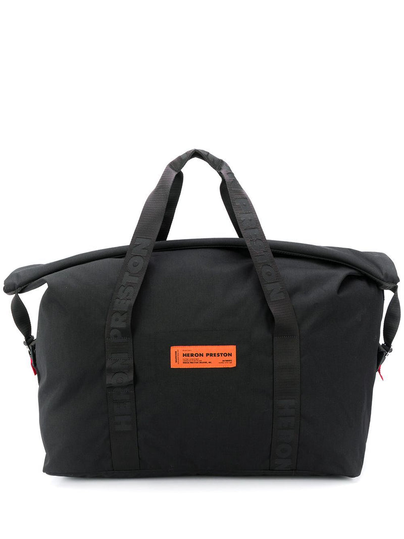HERON PRESTON Logo Patch Duffel Bag Black