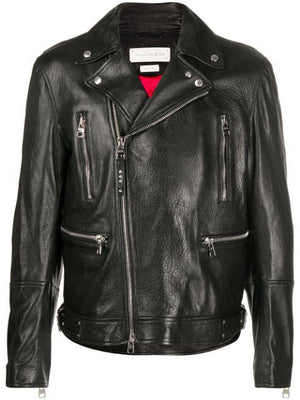 Alexander McQueen leather biker jacket - Maison De Fashion