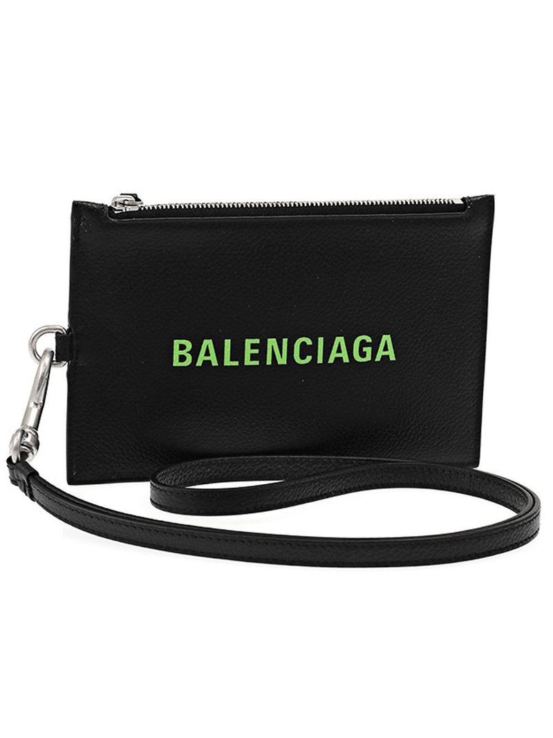BALENCIAGA Zipped Cash Holder Black/Green
