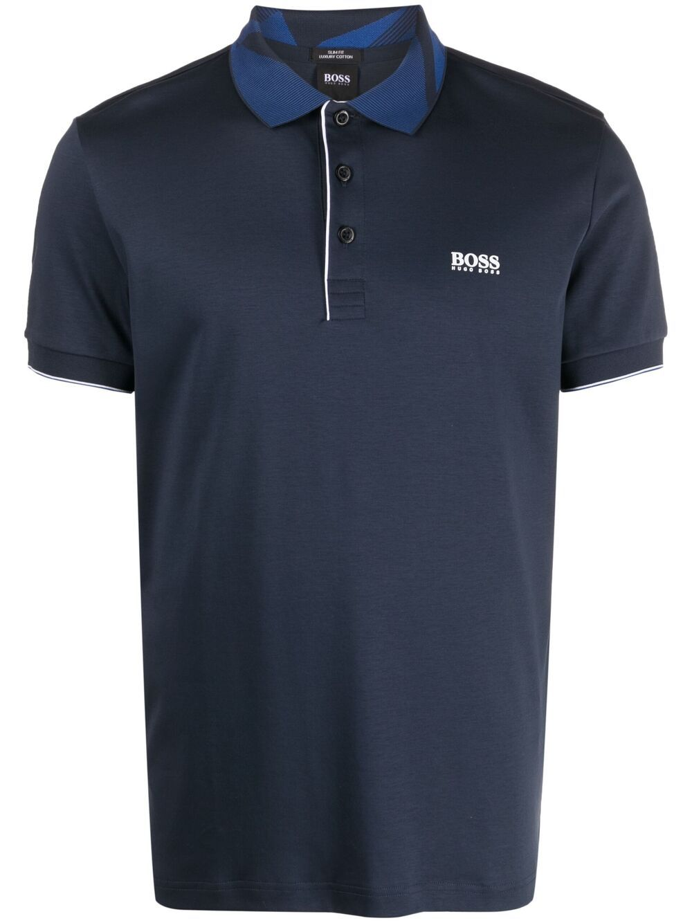 BOSS Patterened-collar polo shirt Navy