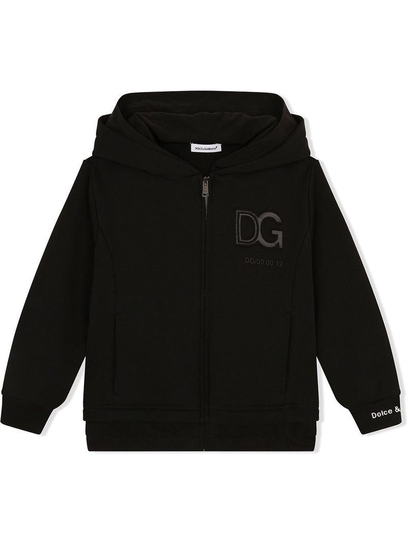 DOLCE & GABBANA KIDS Logo patch zip-front hoodie Black