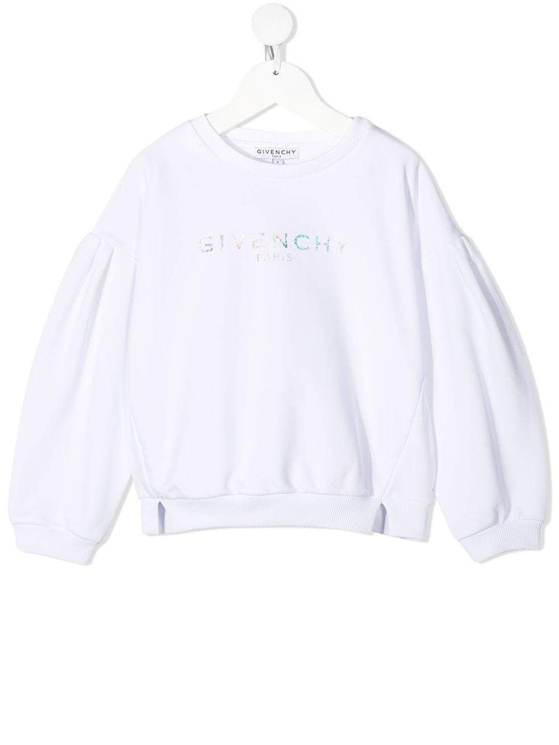 GIVENCHY KIDS Iridescent logo print sweater White