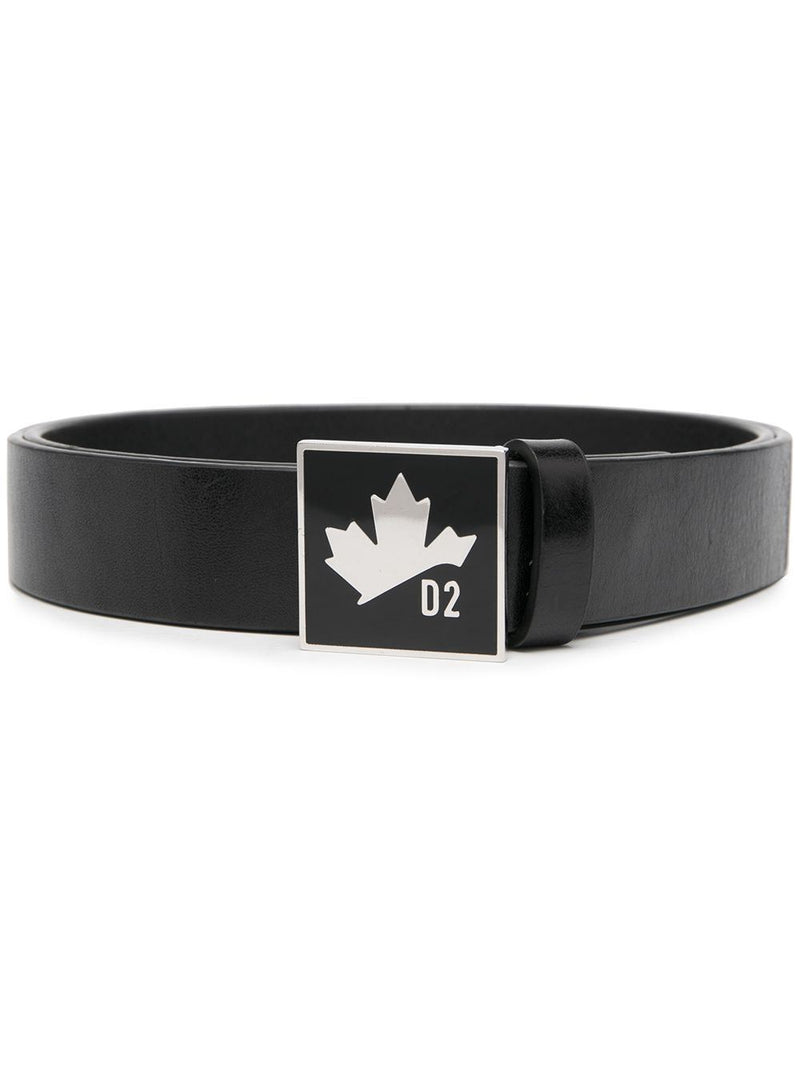 DSQUARED2 Maple Logo Plaque Buckle Belt Black