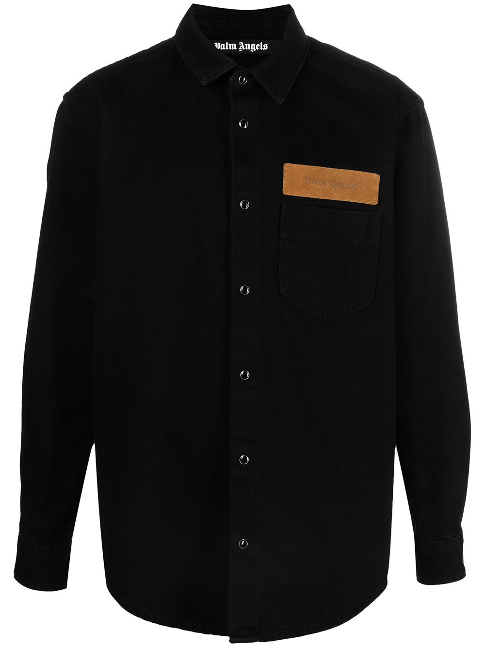 PALM ANGELS Curved Logo Denim Shirt Black
