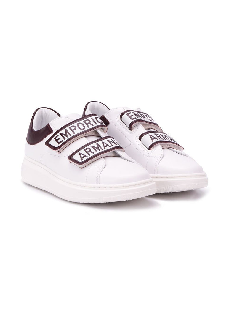 EMPORIO ARMANI KIDS Logo touch strap sneakers White/Brown