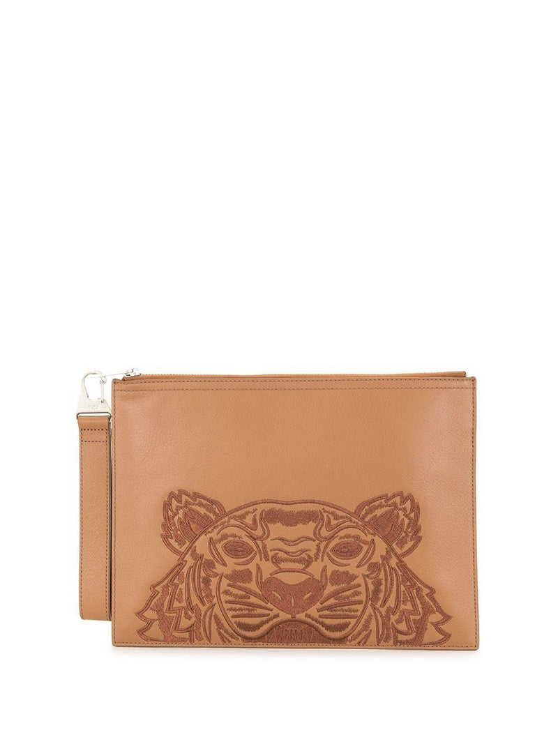 Kenzo Tiger Embroidered Zipped Strap Clutch Brown