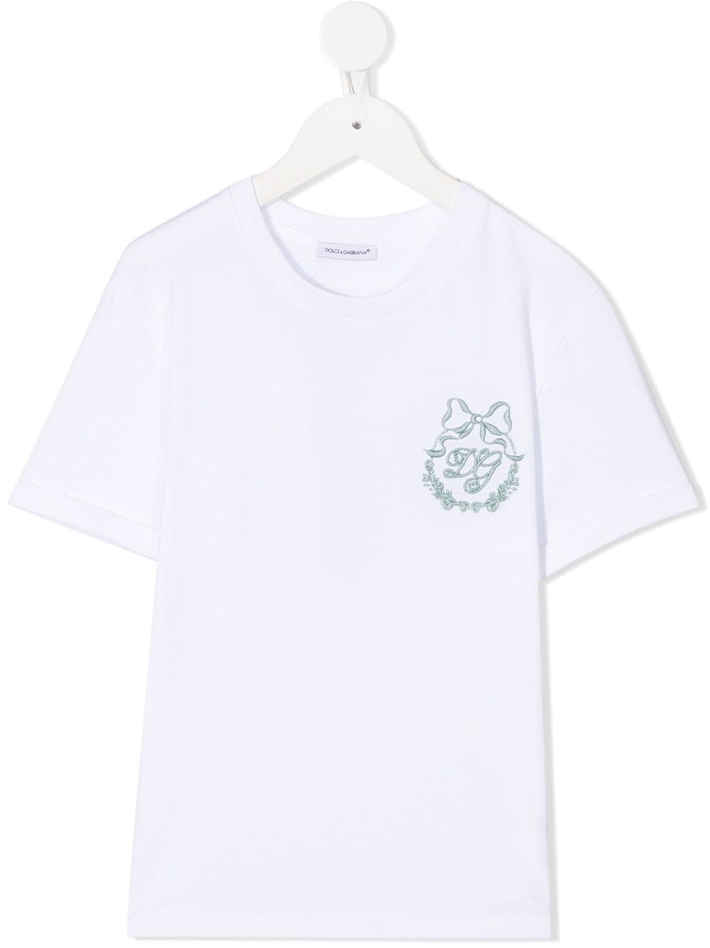 DOLCE & GABBANA KIDS Logo Embroidered T-shirt White