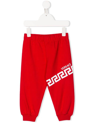 VERSACE KIDS Chain Print Sweatpants Red