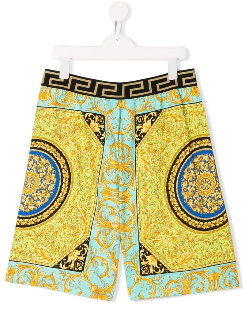 VERSACE KIDS Baroque Print Waistband Shorts