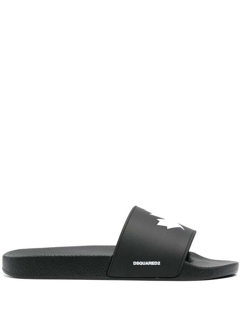 DSQUARED2 Leaf Logo Sliders Black