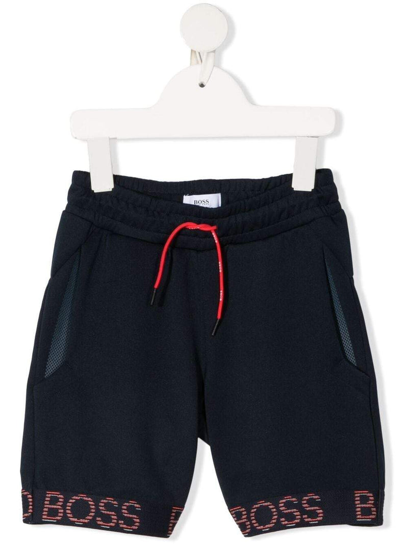 BOSS KIDS Logo-tape track shorts Navy