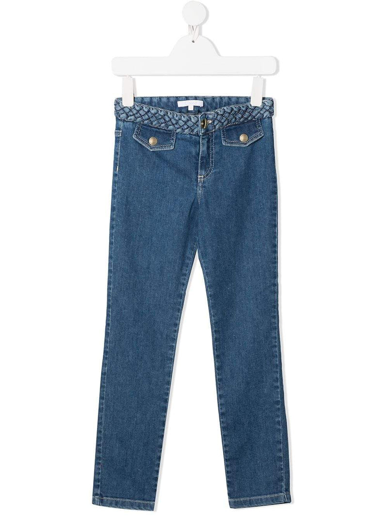 CHLOÉ KIDS Rope Waistband Jeans Blue - Maison De Fashion