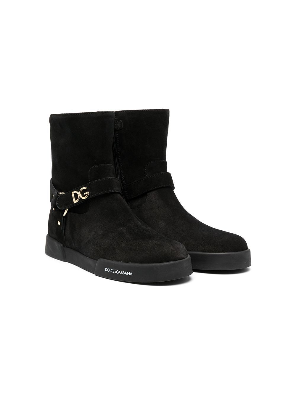 DOLCE & GABBANA KIDS Plaque Ankle Boots Black