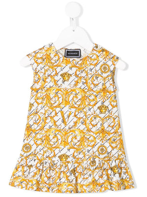 VERSACE KIDS baby baroque-print ruffled dress