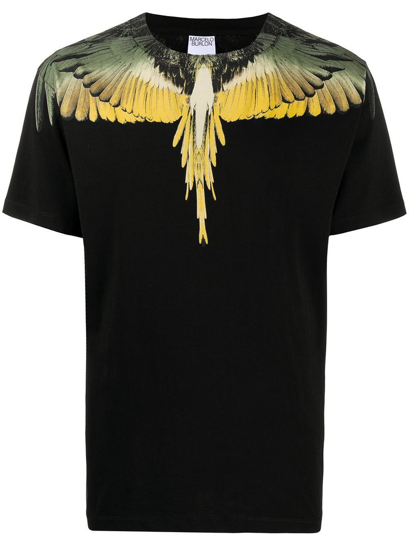 MARCELO BURLON Wings T-shirt Black/Yellow
