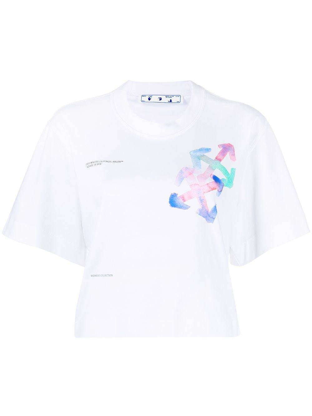 OFF WHITE WOMEN Watercolour Arrows Cropped T-shirt White