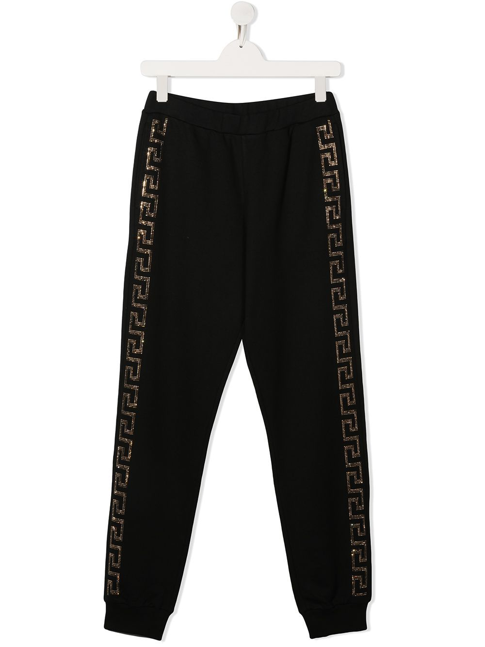 VERSACE KIDS Rhinestone Side Logo Track Pants Black - Maison De Fashion