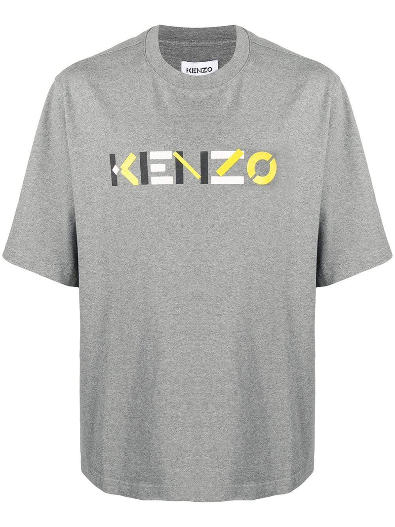 KENZO Oversized Yellow Logo T-shirt Grey