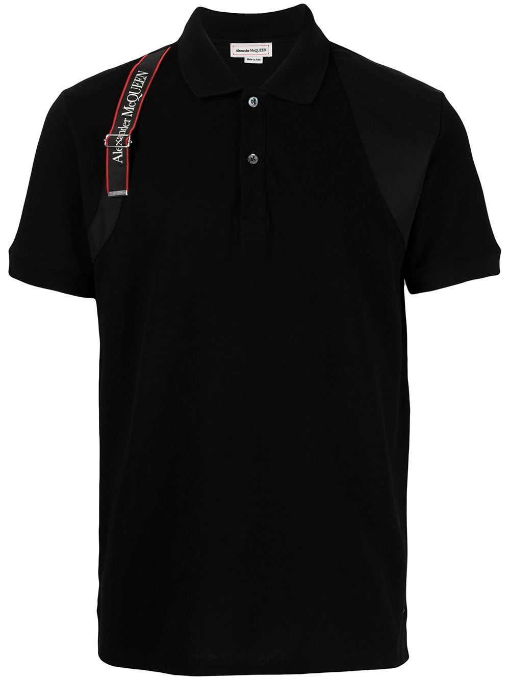 ALEXANDER MCQUEEN Logo Harness Polo Shirt Black - Maison De Fashion