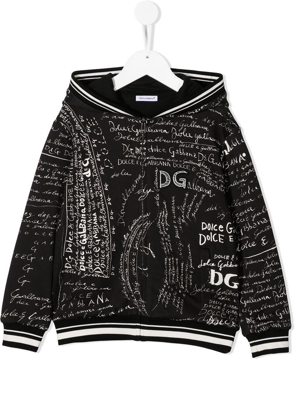 DOLCE & GABBANA KIDS All Over Logo Zipped Hoodie Black