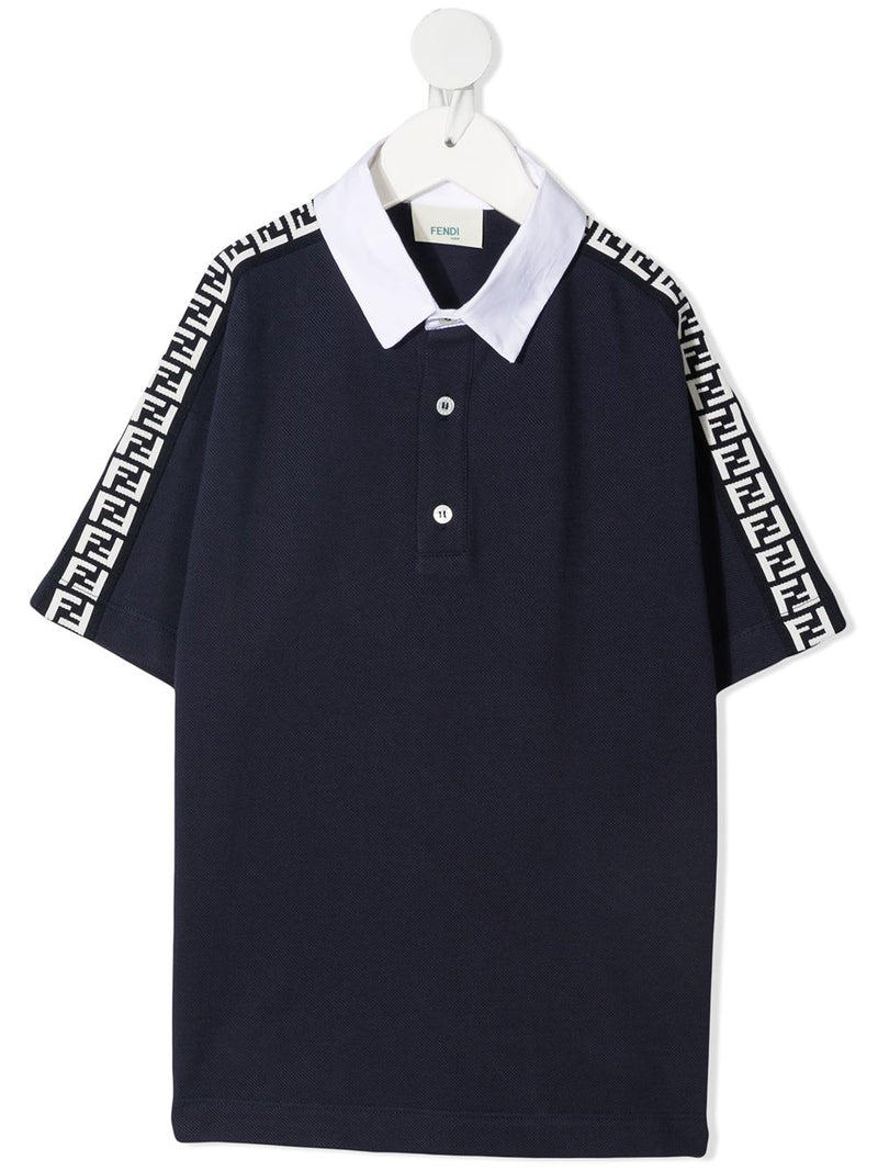 FENDI KIDS FF logo-tape polo shirt Navy