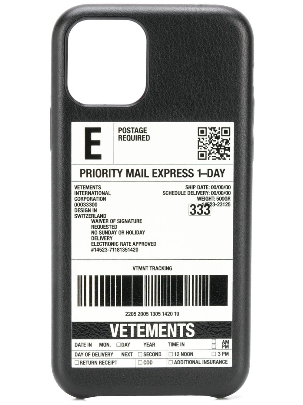 VETEMENTS Delivery Sticker iPhone Pro Case Black