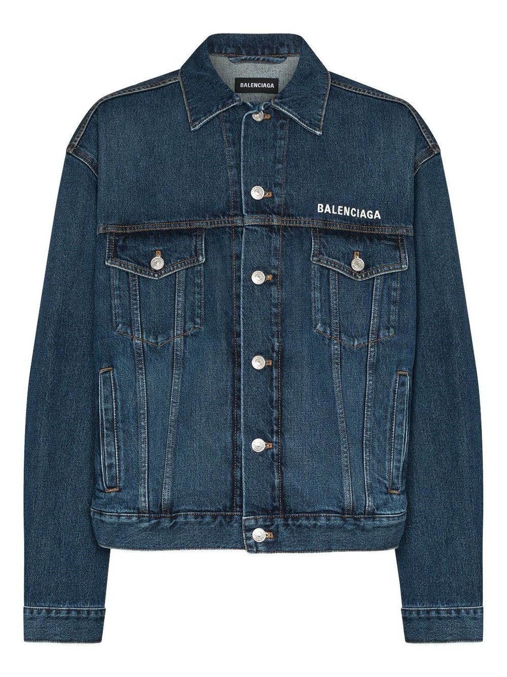 BALENCIAGA Embroidered Logo Denim Jacket Blue - Maison De Fashion