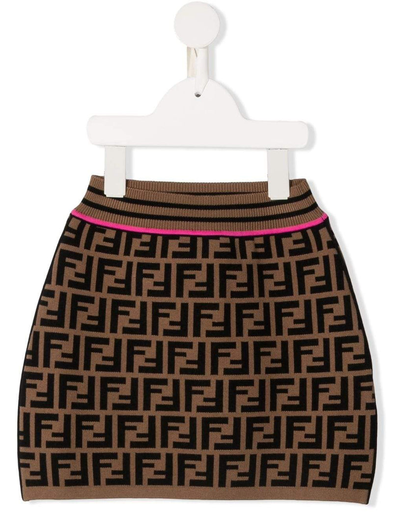 FENDI KIDS FF Logo Print Skirt Brown