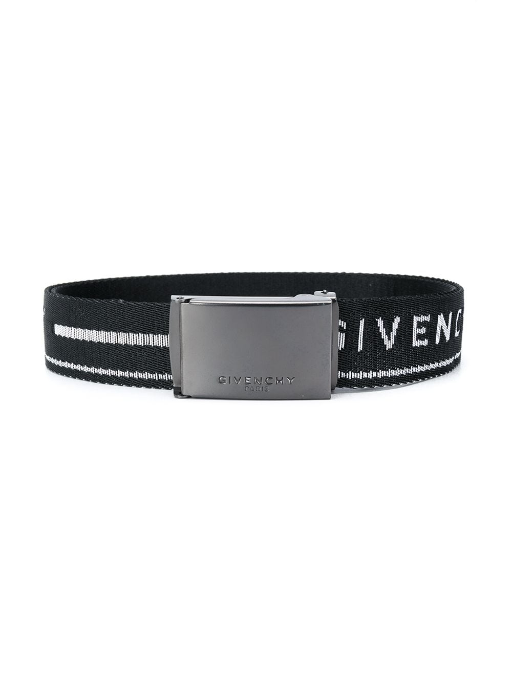 GIVENCHY KIDS Logo Stripe Belt Black