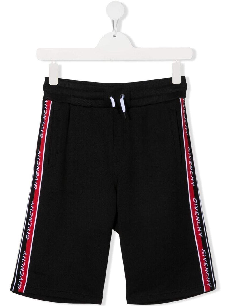 GIVENCHY KIDS Side Stripe Logo Shorts Black