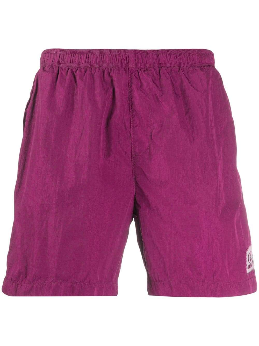 C.P. COMPANY logo embroidered swimming trunks purple