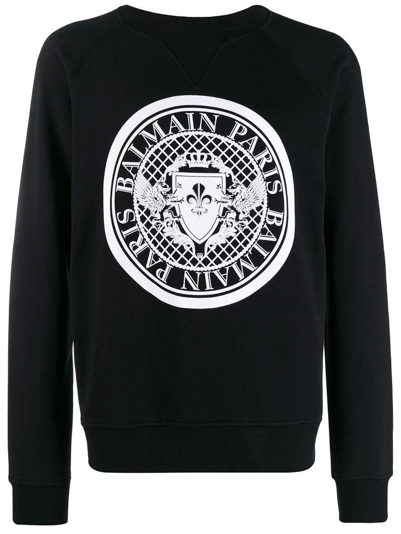 BALMAIN coin logo flock sweatshirt black