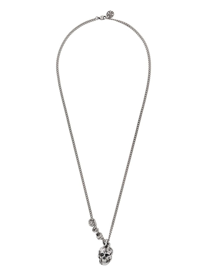 Alexander McQueen skull and snake necklace silver