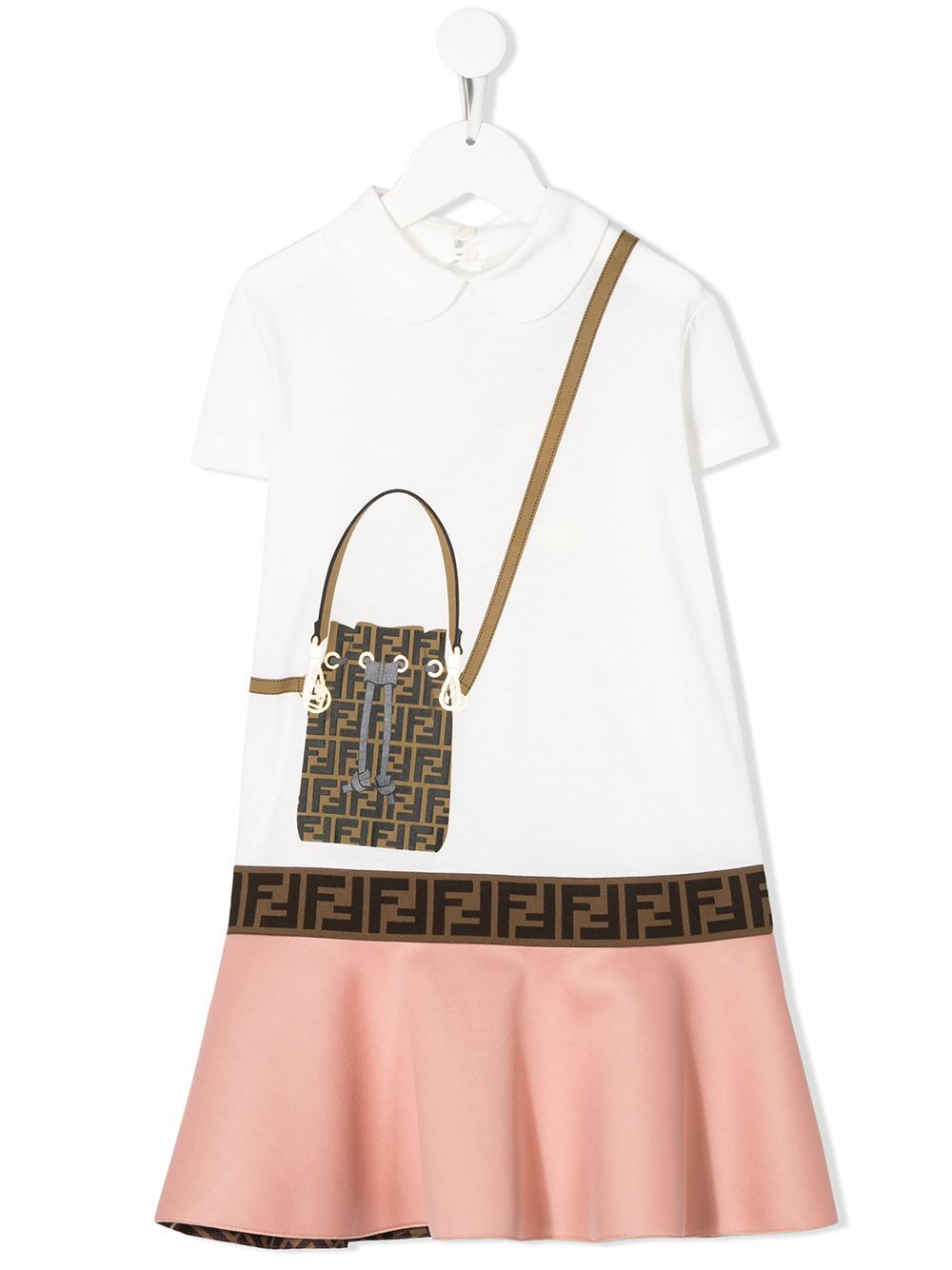 FENDI KIDS FF handbag print dress white/pink