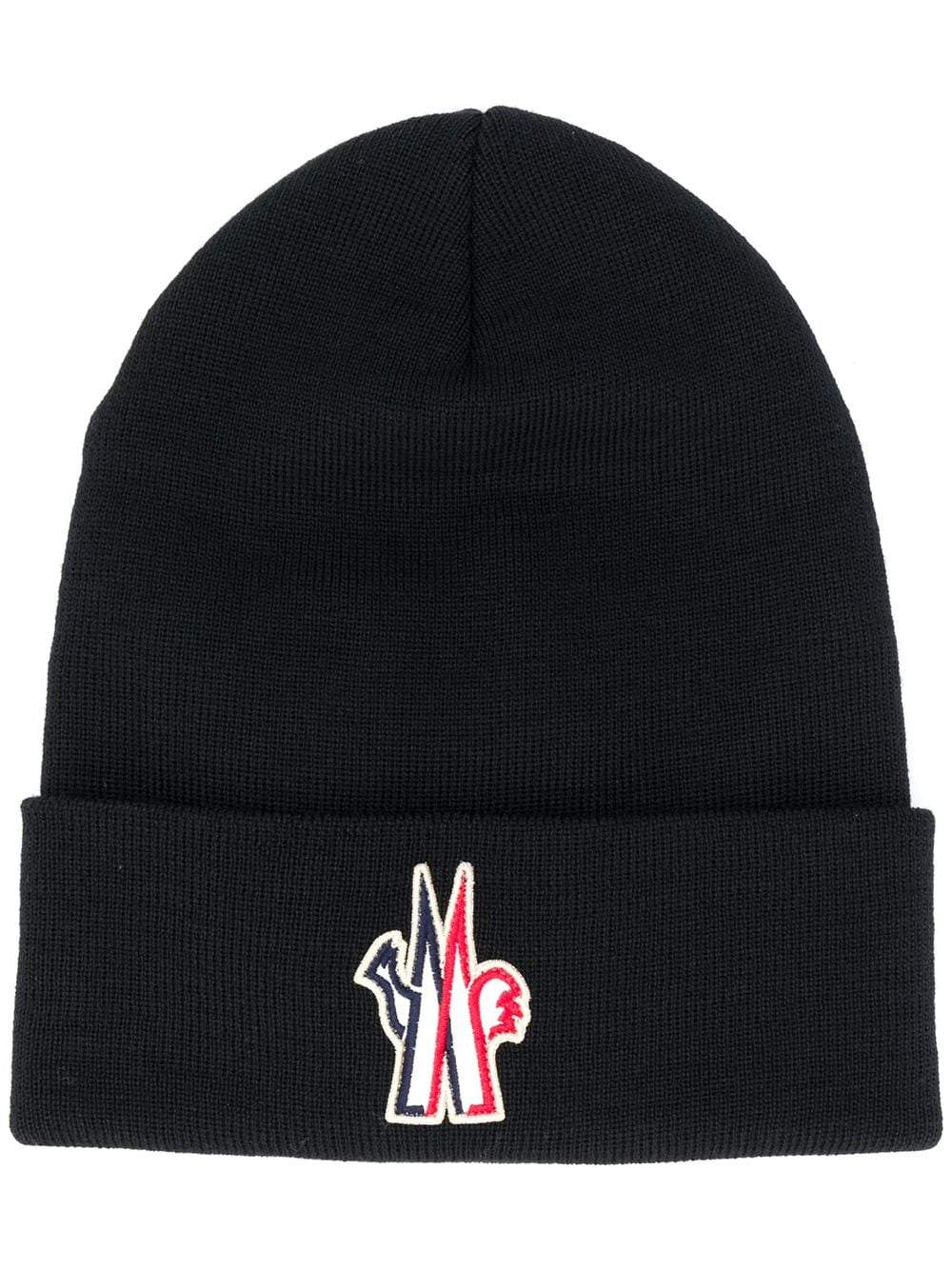 MONCLER GRENOBLE embroidered logo beanie black