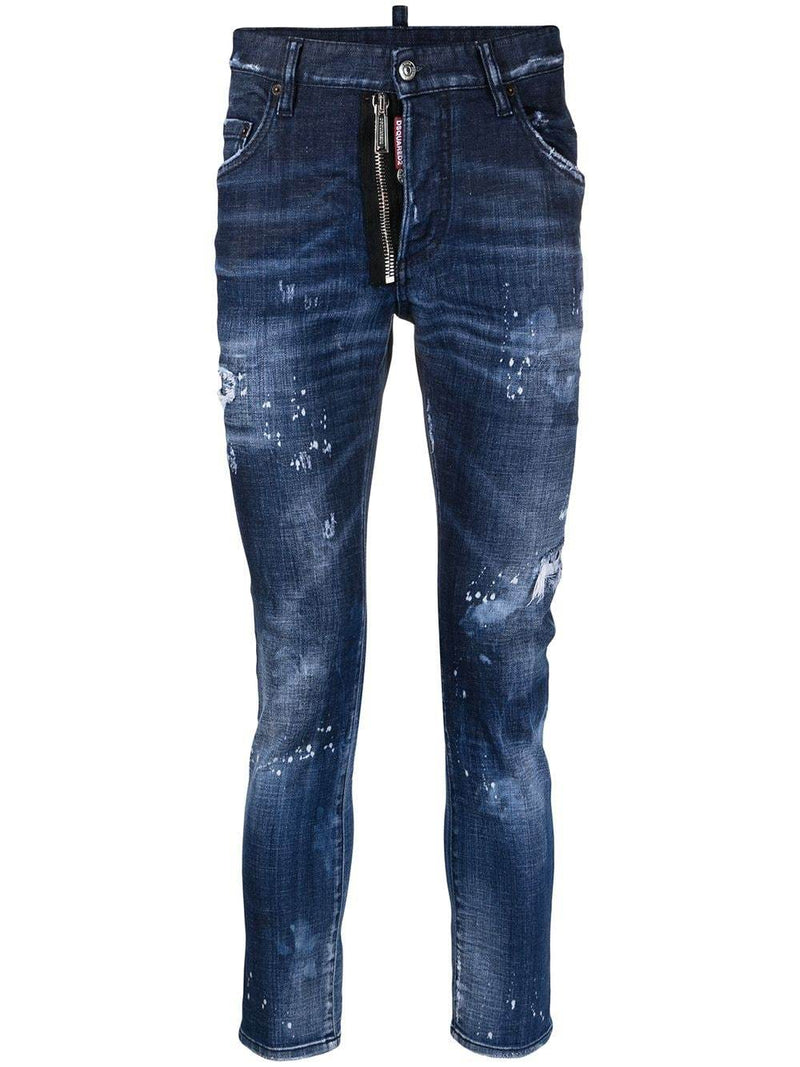 DSQUARED2 Distressed-Finish Slim-Fit Logo Patch Jeans