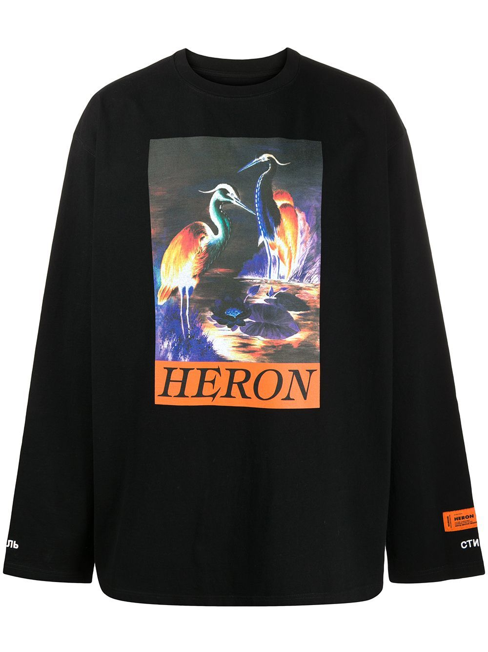 HERON PRESTON Graphic Print Long Sleeve T-shirt Black