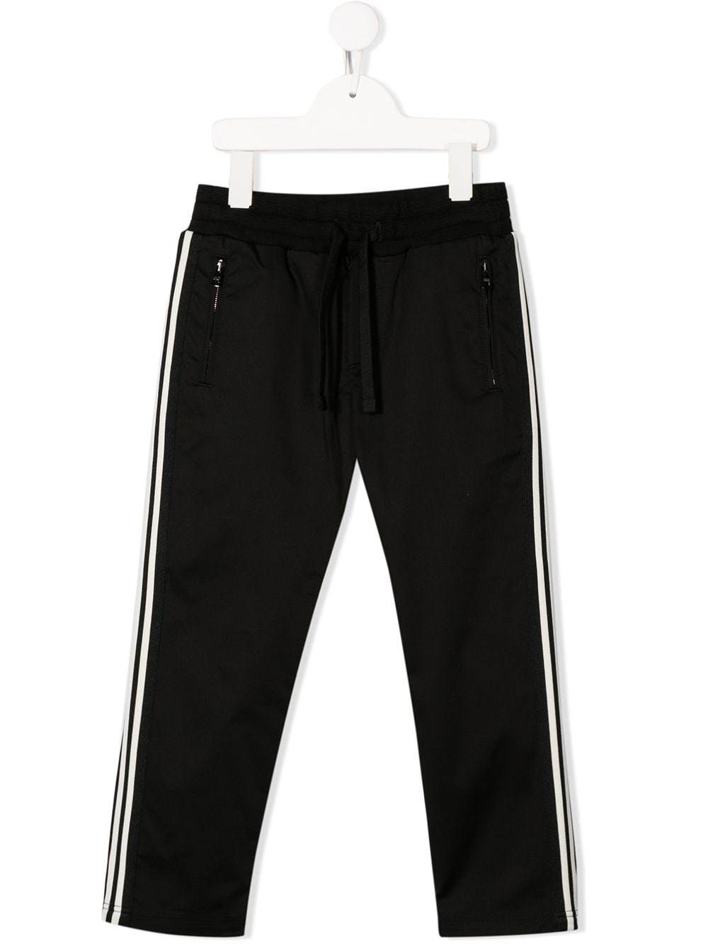 DOLCE & GABBANA KIDS striped-side track pants black