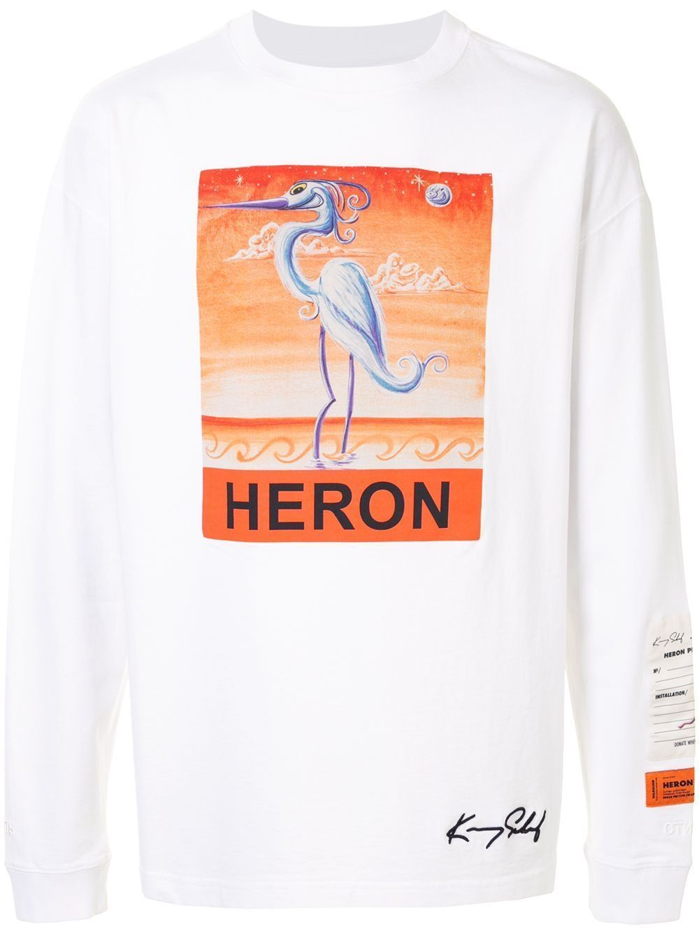 HERON PRESTON Swan Print Long Sleeve T-shirt White
