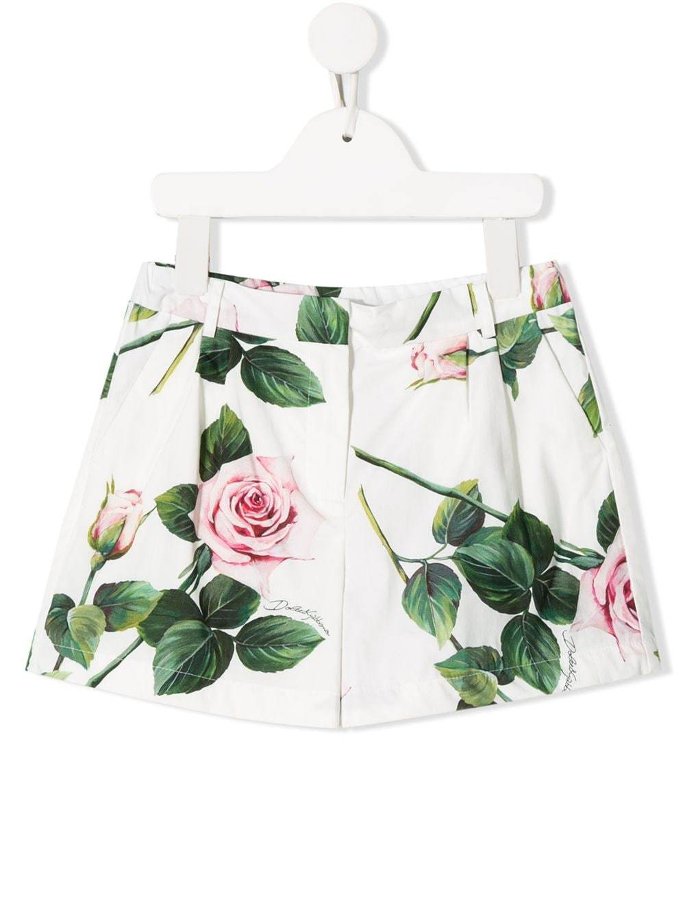 DOLCE & GABBANA KIDS rose print shorts White