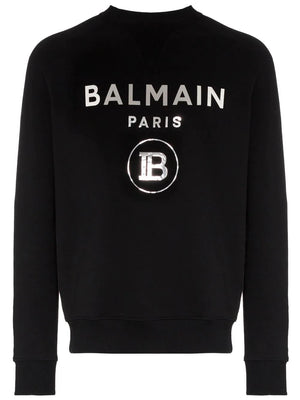 BALMAIN logo cotton sweatshirt black - Maison De Fashion