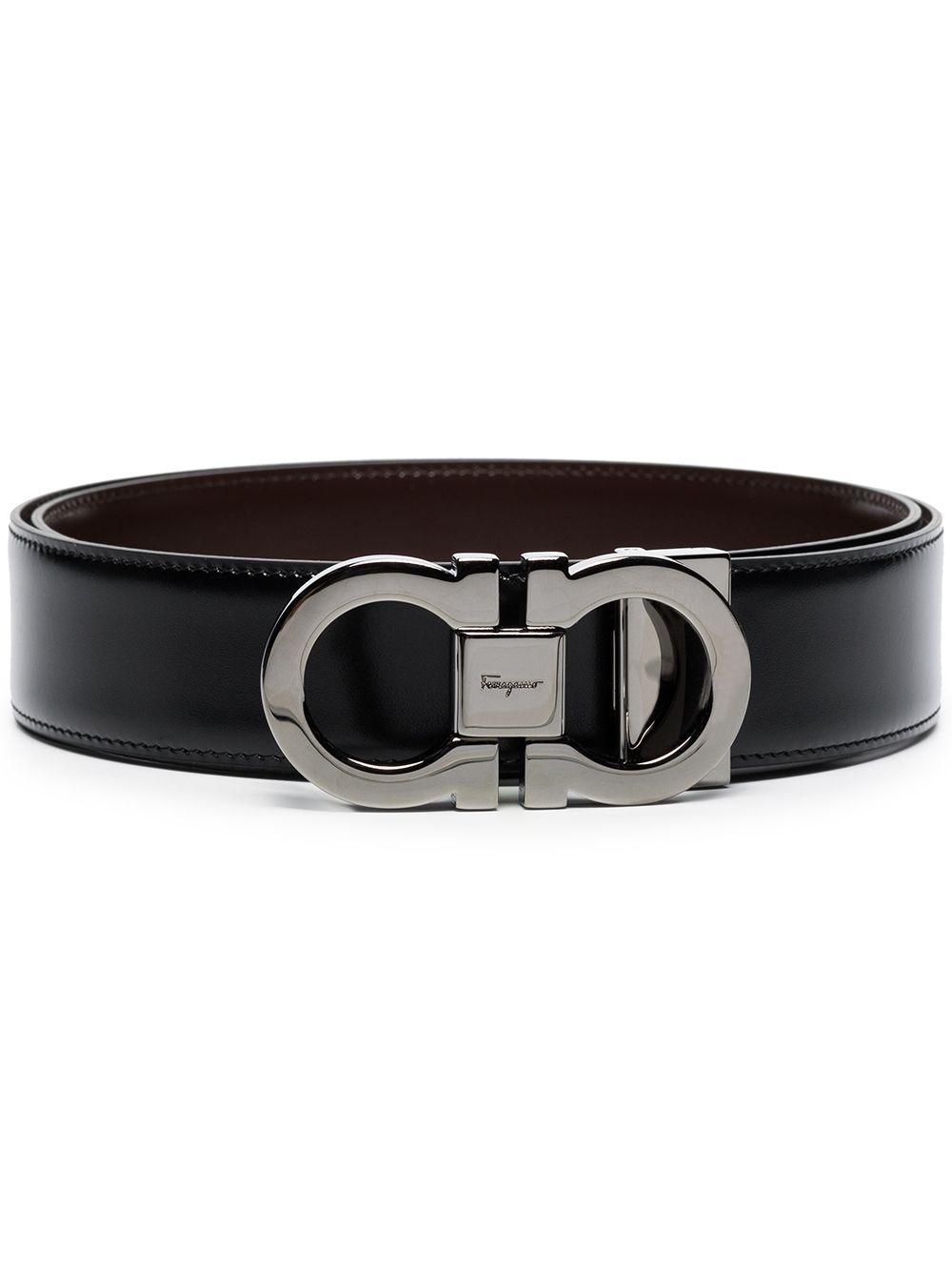 SALVATORE FERRAGAMO Reversible Gancini Belt Black
