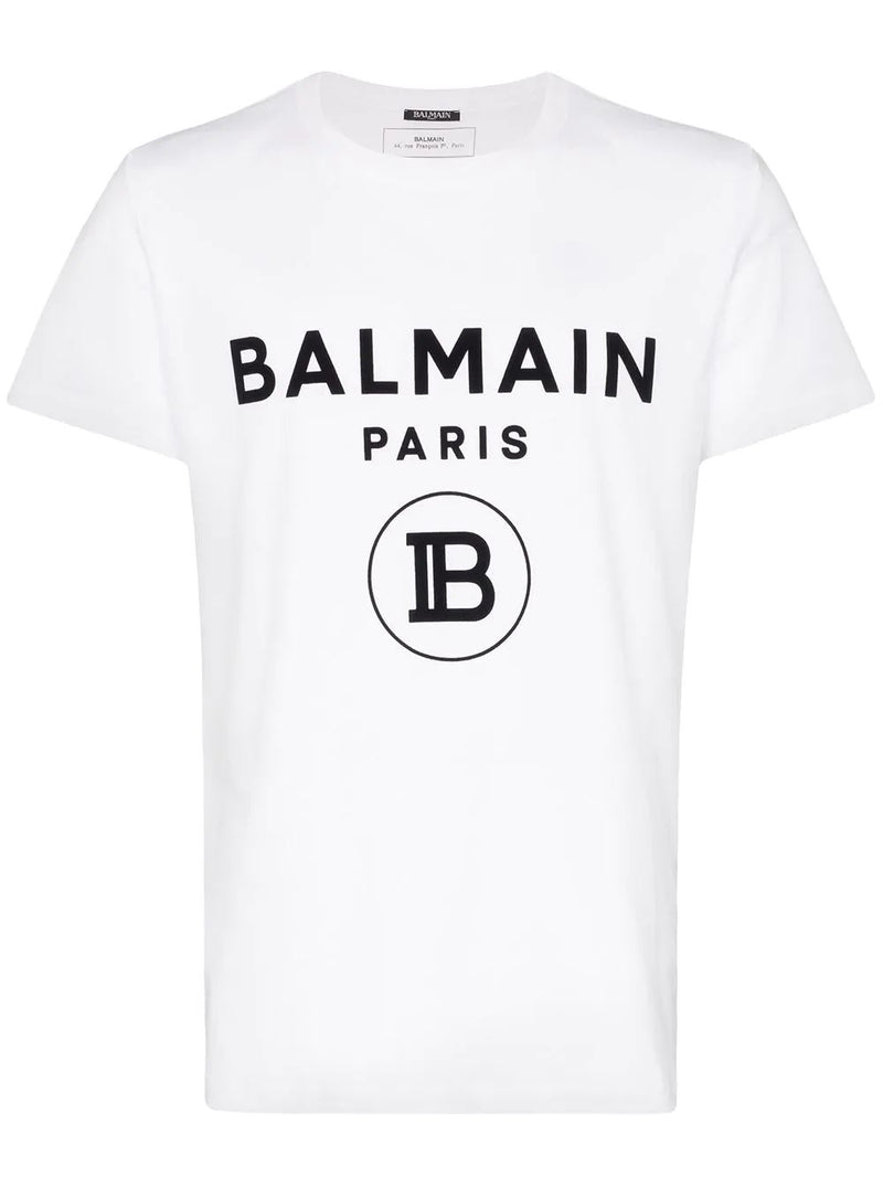 BALMAIN flock logo print t-shirt white - Maison De Fashion