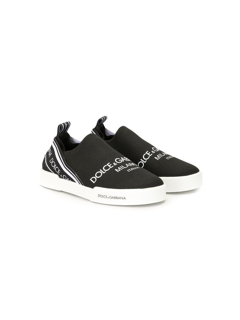 DOLCE & GABBANA KIDS Logo print slip-on sneakers Black