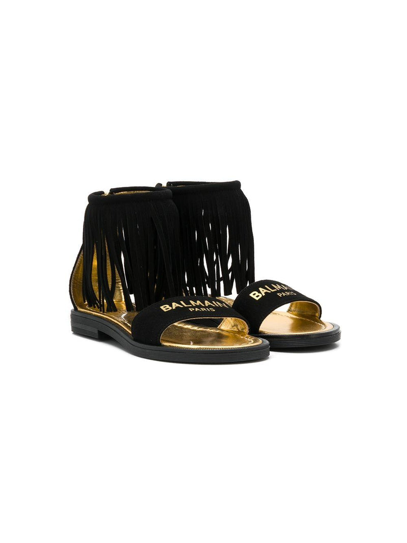 BALMAIN KIDS open toe fringed logo sandals black