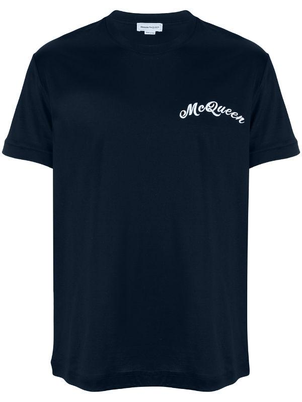 Alexander McQueen embroidered t-shirt mercerize cotton navy - Maison De Fashion