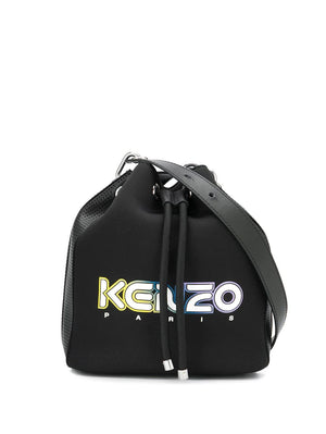 KENZO logo stamp bucket bag black - Maison De Fashion