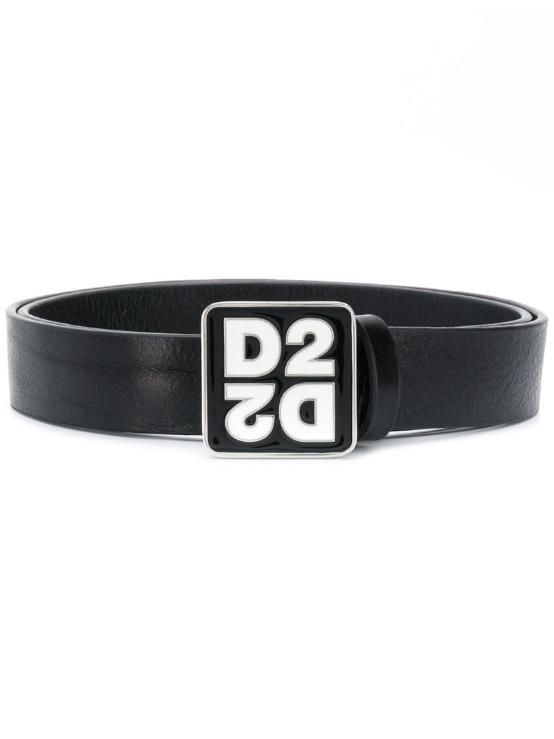 DSQAURED2 Square Logo Buckle Belt Black