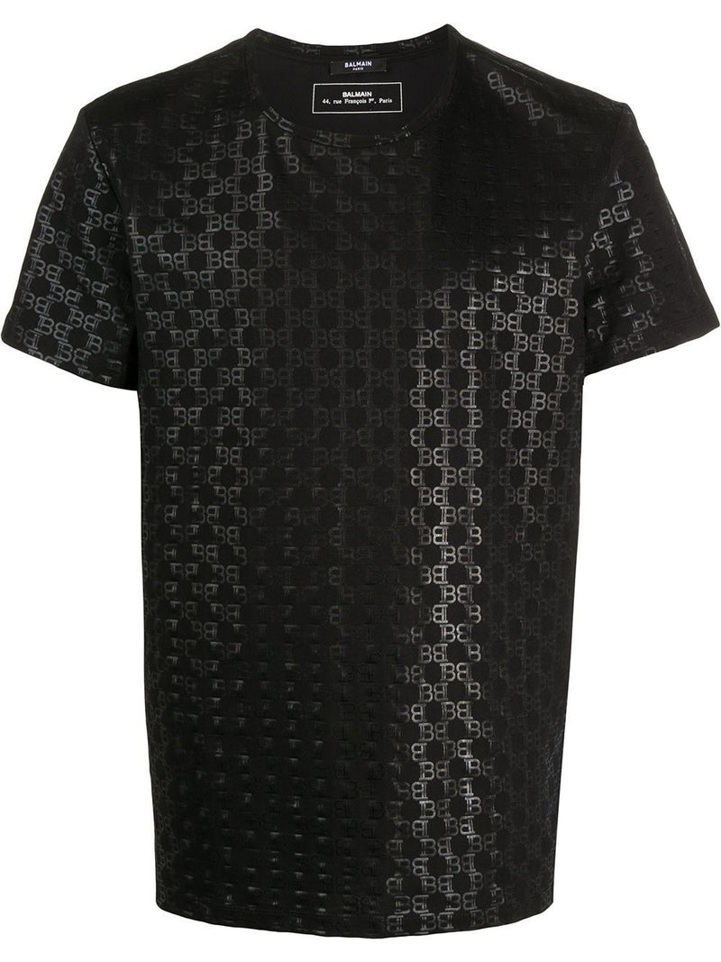 BALMAIN All Over Monogram T-shirt Black